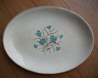 Shabby Chic Cream and Blue Floral Vintage Serving Platter, Decorative Plate, Kitchen Decor
