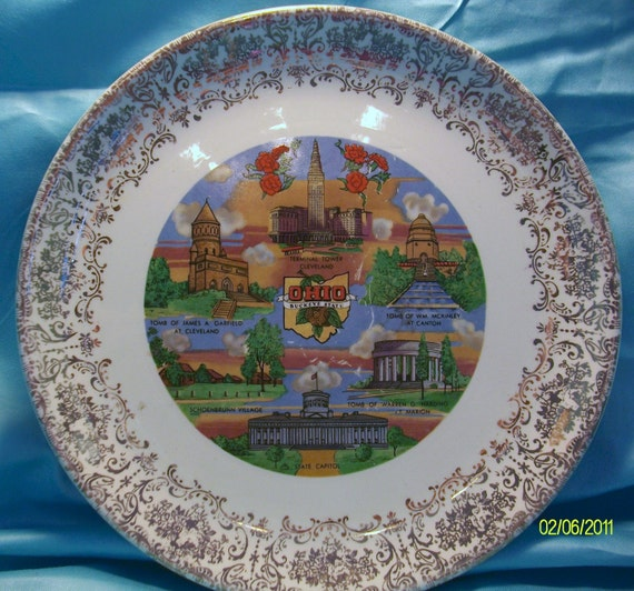 Ohio State Vintage Multi Color and Gold Edged Souvenir Plate