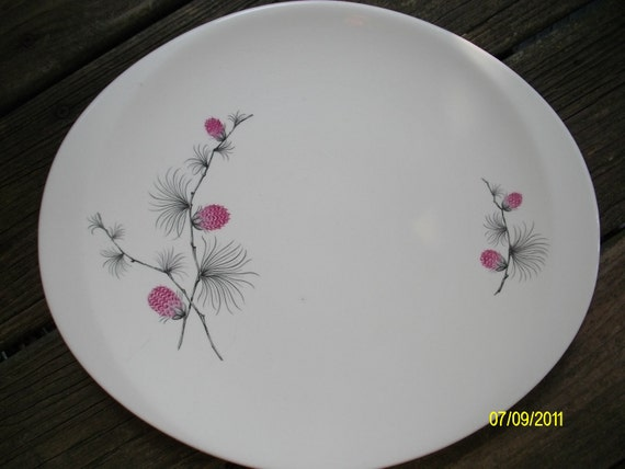 Canonsburg Wild Clover Pink and White Shabby Chic Pinecone Vintage China Serving Platter, Vintage Kitchen Decor, Decorative Plate