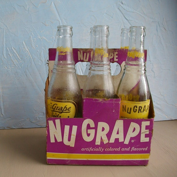 NuGrape Soda Bottles Six Pack of Vintage Glass Bottles with Carrier