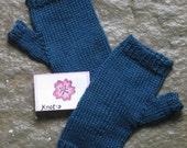 Sapphire Blue Fingerless Gloves Silk Bamboo Yarn