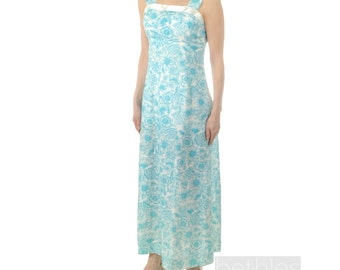 Dress Maxi Sky Blue and White Floral Print Vintage 60s