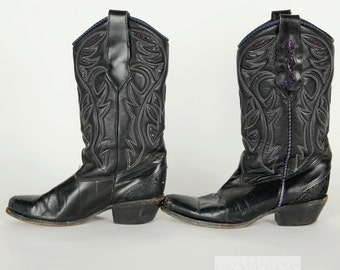 80s Boots Cowboy Boots Black Boots Leather Boots Western Boots Vintage 1980s Black Western Boots Black Leather Boots Leather Cowboy Boots