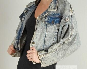 1980s Jacket Jean Jacket Denim Jacket Acid Wash Jean Jacket Vintage 80s  Jacket Acid Wash Denim Crop Denim Jacket