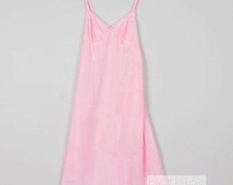 1960s Slip Full Slip Pink Slip with Lace Vintage 60s Pink Slip Short Pink Slip Pink Lingerie Candy Pink Slip Intimate Apparel