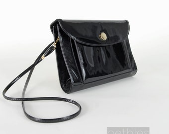 Black Patent Leather Purse Vintage 60s Clutch