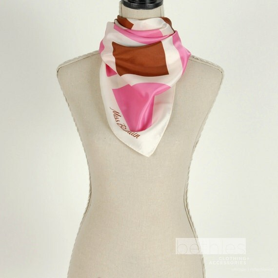 Scarf in Pink, White and Brown Miss Balmain Vintage 60s Valentines Day