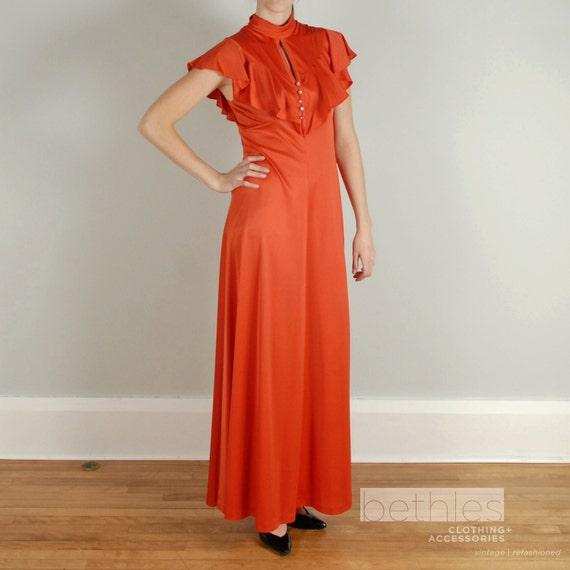 Long Orange Maxi Dress Vintage 70s Empire Waist and Flutter Sleeves