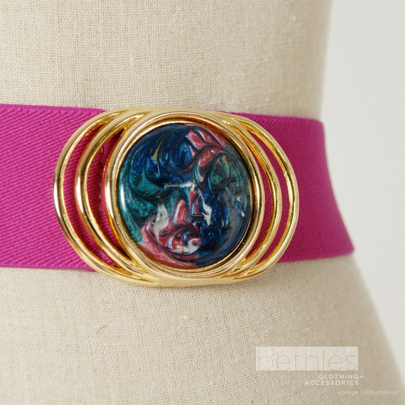 Hot Pink Stretch Belt with Gold Ring Buckle and Marble Medallion Cinch Belt Vintage 80s