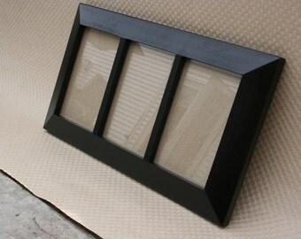 3-opening frame, HANDMADE, black painted wood