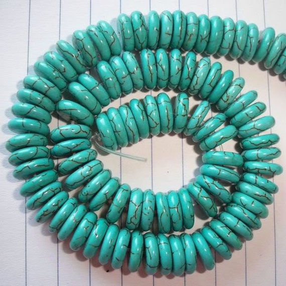 60 pcs.12x3mm Rondelle(Howlite)Turquoise Beads