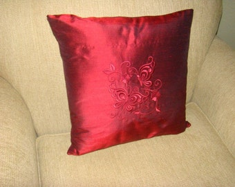 Red Embroidered Silk Pillow