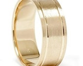 14K Yellow Gold Comfort Fit Brushed Mens Wedding Band Ring 8MM Sizes (7-12)