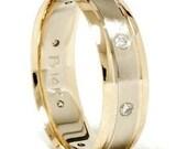 Gold Two Tone Brushed Diamond Wedding Ring 14K New Band