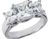 2.00CT SI Three Stone Princess Cut Real Diamond Ring 14K Gold