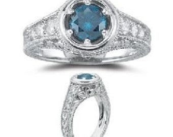 Blue Diamond .75CT Vintage Engagement 14K White Gold Ring