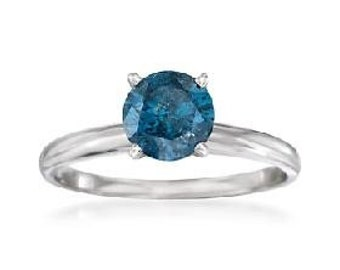 Blue Diamond .55CT Solitaire Engagement Ring 14K White Gold