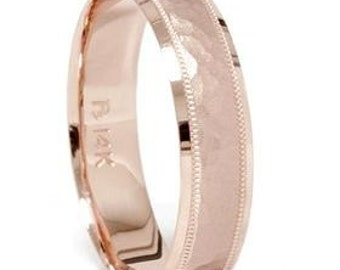 Mens 14K Rose Gold Hammered Wedding Ring Band 6MM New