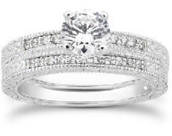 Antique .55CT Diamond Engagement Wedding Ring Set 14K White (Sizes 4-9)