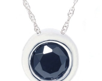 1.10CT Black Bezel Solitaire Pendant 14K White Gold