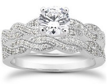 Diamond .95CT Pave Engagement Matching Ring Wedding Band Bridal Set 14K White Gold Size (4-9)