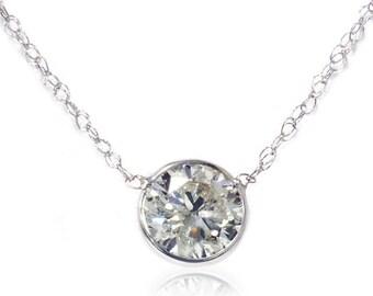 Solitaire .84CT SI H Bezel Diamond Pendant 14K White Gold