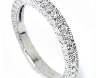 Heirloom Diamond Wedding Ring Band Milgrain 14K White Gold .17CT