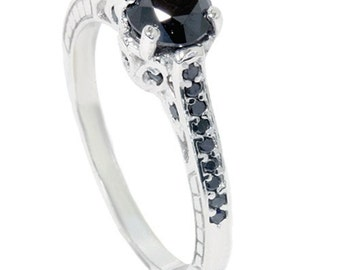 1.23CT Vintage Style Black Diamond Engagement Hand Engraved Etched Ring 14K White Gold Size (4-9)