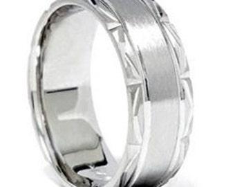 Mens Platinum Wedding Band Hand Carved Brushed 7MM Bridal Ring, Mens Wedding Band