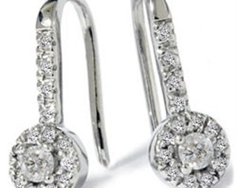 Vintage Diamond Dangle Earrings Antique Style Round Pave Drop 1/4CT 14K White Gold