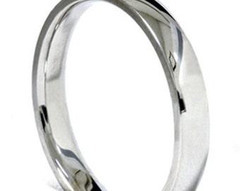 Mens Womens 14K White Gold Wedding Band 3mm Ring (Sizes 4 - 12)