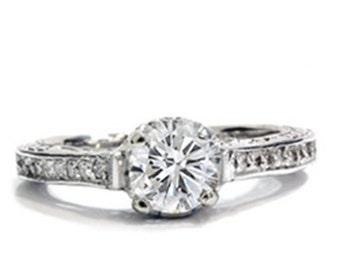 1.20CT Vintage Diamond Ring Hand Engraved 14K White Gold