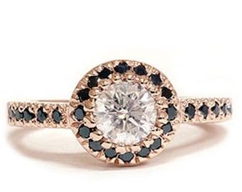 Black & White Diamond .93CT Engagement Ring 14K Rose Gold