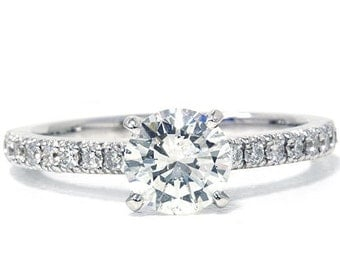 1.24CT Diamond Engagement Ring 18K White Gold