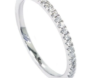 Diamond Pave Band .14CT 18K White Gold Ring