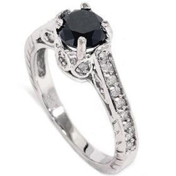 1.23CT Black & White Diamond Vintage Engagement Ring 14K White Gold (Sizes 4-9)
