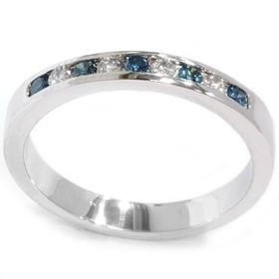 Blue & White .27CT Diamond Wedding Anniversary Ring 14K White Gold Channel Set