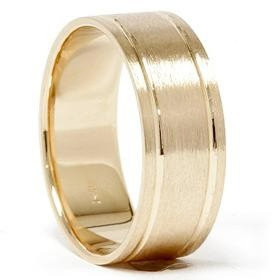 14K Yellow Gold Comfort Fit Brushed Mens Wedding Band Ring 8MM