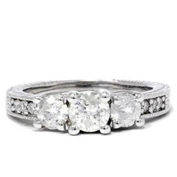1.00CT 3 Stone Diamond Vintage Antique Hand Engraved Engagement Ring Past Present Future, Vintage Antique, Hand Engraved, 3 Stone, Vintage