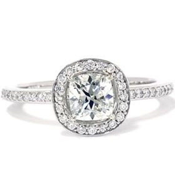 Cushion Halo Diamond Engagement Ring 1.29CT SI Cushion Halo Diamond Engagement Ring 14K White Gold