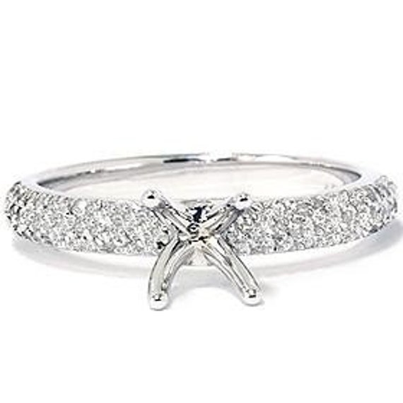 Engagement Ring Setting  Pave Diamond .40CT Engagement Ring Setting Semi Mount 1/2 Eternity Style 14K White Gold