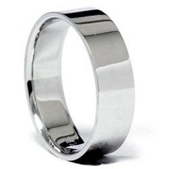 Mens 6MM Flat White Gold Wedding Band Ring Size (7-12)