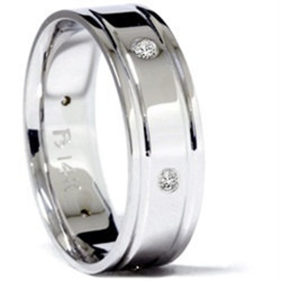 Mens 6MM .18CT SI Diamond Wedding Ring 14K White Gold Comfort Fit Band Size (7-12)