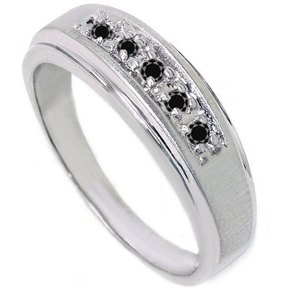 Mens .15CT Black Diamond Genuine Wedding Ring Anniversary Band 14K White Gold Size (7-12)