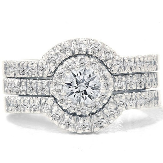 1.25 CT Diamond Engagement Wedding Ring Set 14K White Gold Pave Halo Vintage (sizes 4-10)