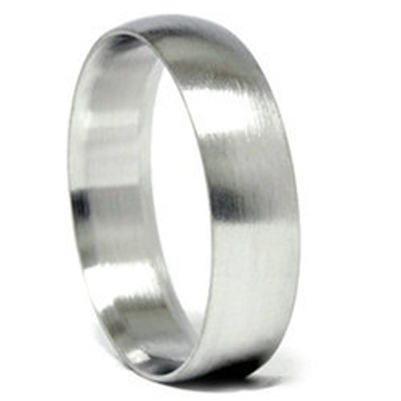 Mens Brushed Wedding Band Matte Finish Bridal Ring 14K White Gold 6MM Dome Size (7-12)