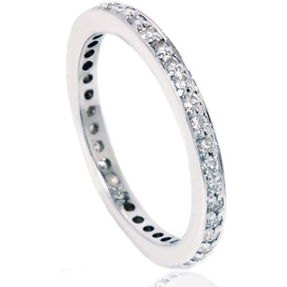 Eternity Wedding Ring Band 14K White Gold Diamond 3/4 Eternity Wedding Ring Band 14K White Gold .40 CT