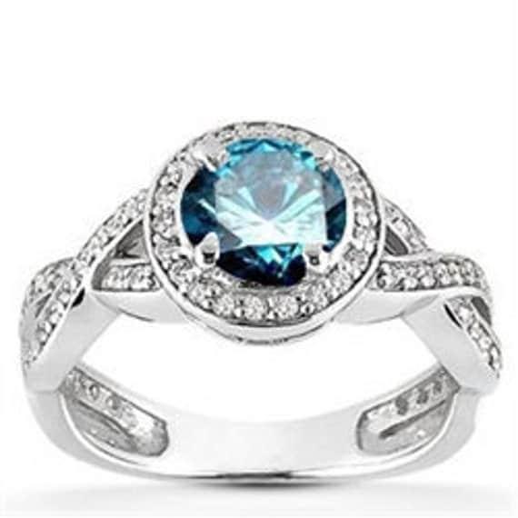 1.00CT Blue Diamond Engagement Ring Pave Halo Vintage Antique Style 14K White Gold Round Blue Diamond, Engagement Ring, Pave Halo Ring
