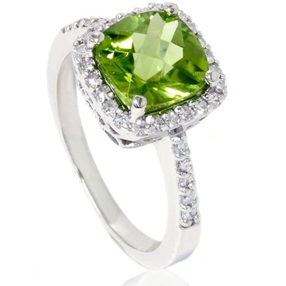 Peridot And Diamond Pave Halo Engagement Anniversary Ring 2.50CT SI1 14K White Gold Size 6.25