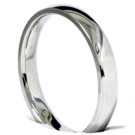 Mens Womens 14K White Gold Wedding Band 3mm Ring (Sizes 4 - 12)